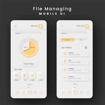Mise en page du modèle de kit d'interface utilisateur mobile de gestion de fichiers sur fond noir.