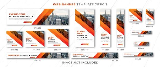 Mise en page d'ensemble de conception de modèle de bannière web ou modèle de conception d'ensemble de bannière publicitaire