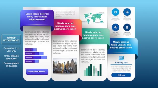 Mise en page de flux d'infographies colorées