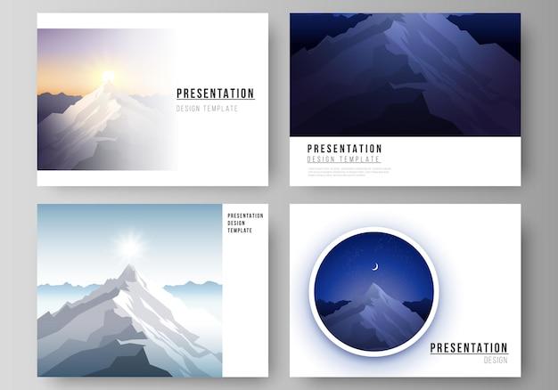 La mise en page d'illustration vectorielle abstraite minimaliste des diapositives de présentation modèles d'affaires de conception illustration de montagne aventure en plein air concept de voyage fond vecteur de conception plate