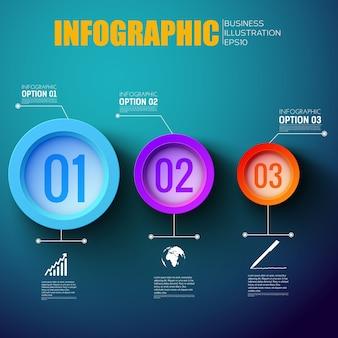 Mise en page infographique étape par étape du réseau avec trois étiquettes de marquage d'options colorées à plat