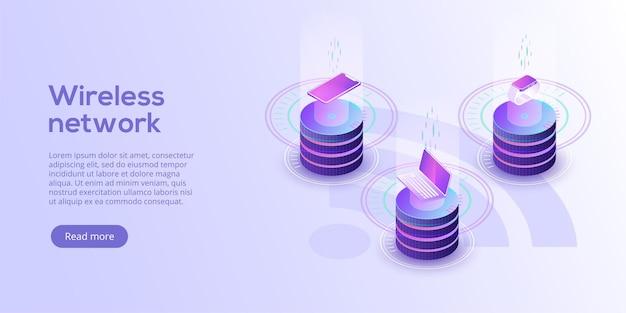 Mise en page de l'internet des objets synchronisation et connexion en ligne iot via la technologie sans fil pour smartphone