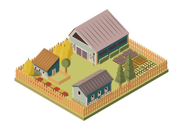 Mise en page isométrique du ranch