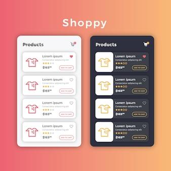 Mise en page de la liste de produits ecommerce