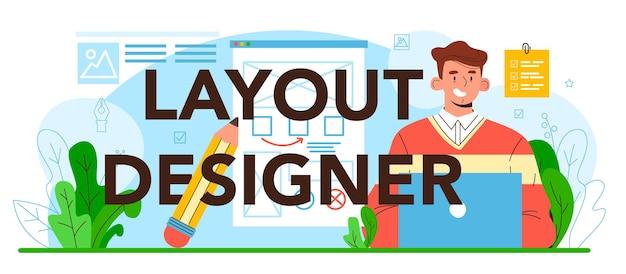 Mise en page de magazine d'en-tête typographique de concepteur de mise en page ou mise en page de journal