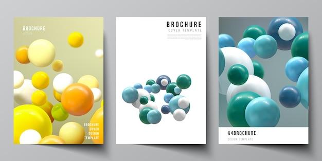Mise en page d'un modèle de couverture avec des boules de bulles brillantes sphères 3d colorées