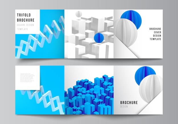 Mise en page de modèles de conception de couvertures carrées pour brochure à trois volets, flyer, magazine, conception de couverture, conception de livre. composition de rendu 3d avec des formes bleues géométriques réalistes dynamiques en mouvement.