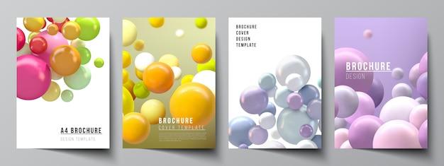 Mise en page de modèles de maquettes de couverture a4 pour brochure, mise en page de flyer, livret, conception de couverture, conception de livre. abstrait futuriste avec des sphères 3d colorées, des bulles brillantes, des boules.