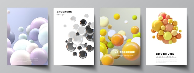Mise en page de modèles de maquettes de couverture a4 pour brochure, mise en page de flyer, livret, conception de couverture, conception de livre, couverture de brochure. fond réaliste avec des sphères 3d multicolores, des bulles, des boules.