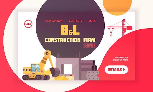 Mise en page de la page de destination de la construction avec coordonnées