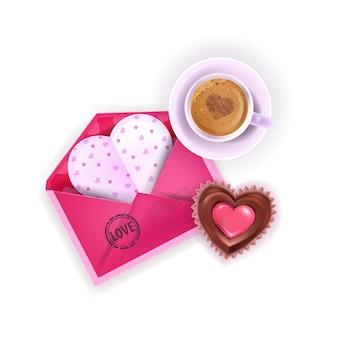 Mise en page de petit-déjeuner d'amour saint-valentin avec enveloppe rose, café, bonbons en forme de coeur isolé sur blanc. vue de dessus de surprise romantique de vacances avec gâteau au chocolat, tasse de latte. carte postale de la saint-valentin