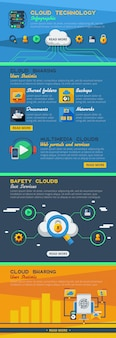 Mise en page plate infographie de services en nuage avec partage de statistiques et technologie d'accès au monde