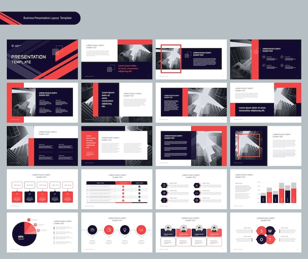 Mise en page de présentation de modèle avec des éléments infographiques