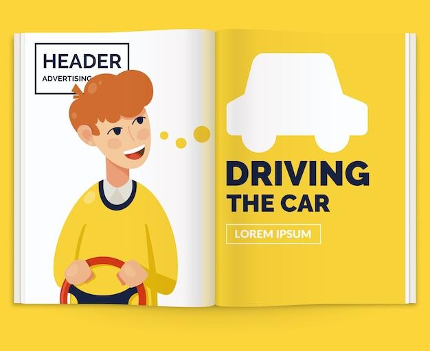 Mise en page réaliste du magazine. brochure ouverte avec publicité au volant de la voiture.
