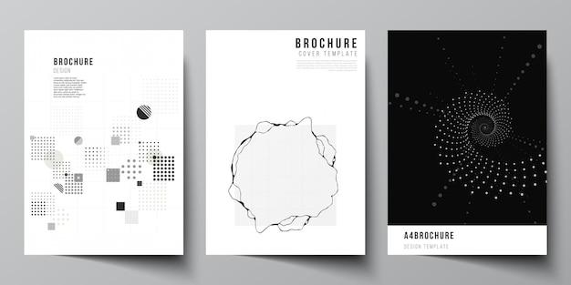 Mise en page vectorielle d'une couverture maquettes modèles pour brochure flyer mise en page livret couverture conception livre conception technologie abstraite couleur noire science fond données numériques minimaliste haute technologie