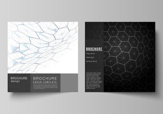 La mise en page vectorielle de deux formats carrés couvre des modèles de conception pour brochure, dépliant.