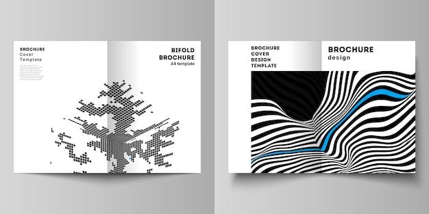 La mise en page vectorielle de deux modèles de conception de maquettes de couverture moderne au format pour brochure à deux volets magazine flyer livret rapport abstrait big data visualisation concept arrière-plans avec lignes et cubes