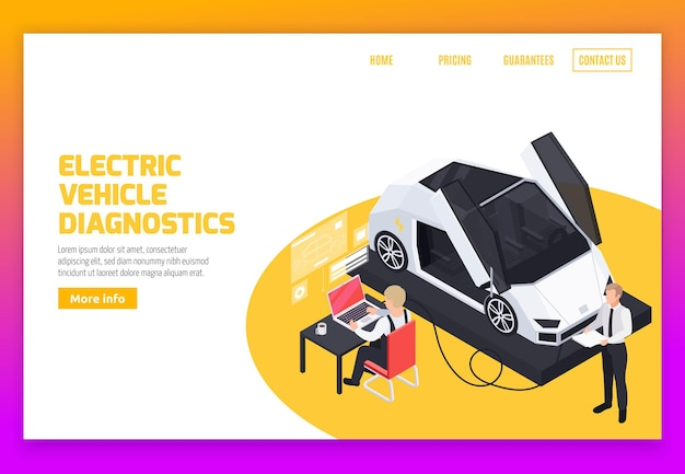 Mise en page web avec fonctionnement des véhicules électriques services de diagnostic à distance gestion de la charge de la batterie et système de rajeunissement