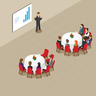 Mise en place d'une réunion de table ronde isométrique
