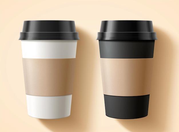 Mise à plat d'emballages de tasses à emporter avec des étiquettes vierges en illustration 3d sur fond beige