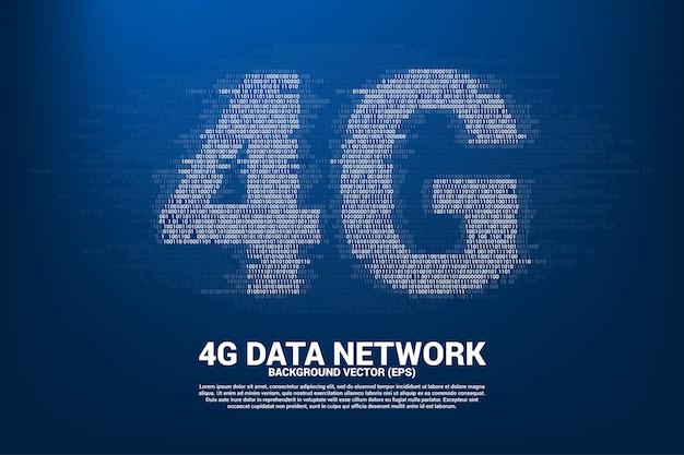 Mise en réseau mobile 4g avec un style de matrice de chiffres à code binaire nul et nul.