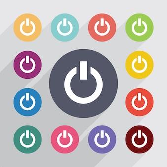 Mise sous tension, jeu d'icônes plat. boutons colorés ronds. vecteur