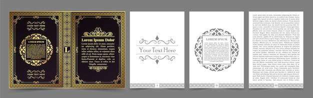 Mises en page et conception de livres vintage - ensemble de couvertures et de pages