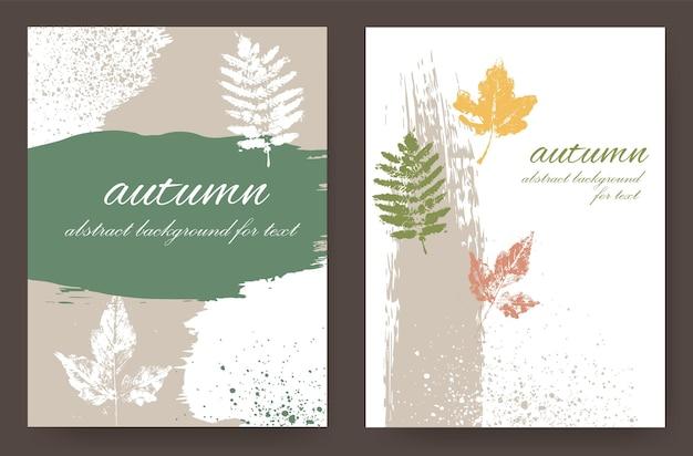 Mises en page avec un design automnal de nuances naturelles dans le style grunge. feuilles d'automne sur un fond abstrait.