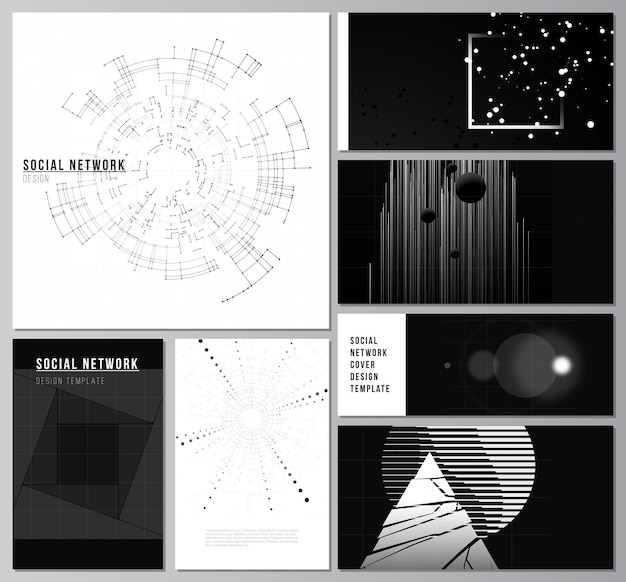 Mises en page vectorielles de maquettes de réseaux sociaux pour la conception de la couverture, les arrière-plans de sites web de conception de sites web ou la visualisation numérique de fond de technologie de couleur noire de la publicité du concept de science medicaltech