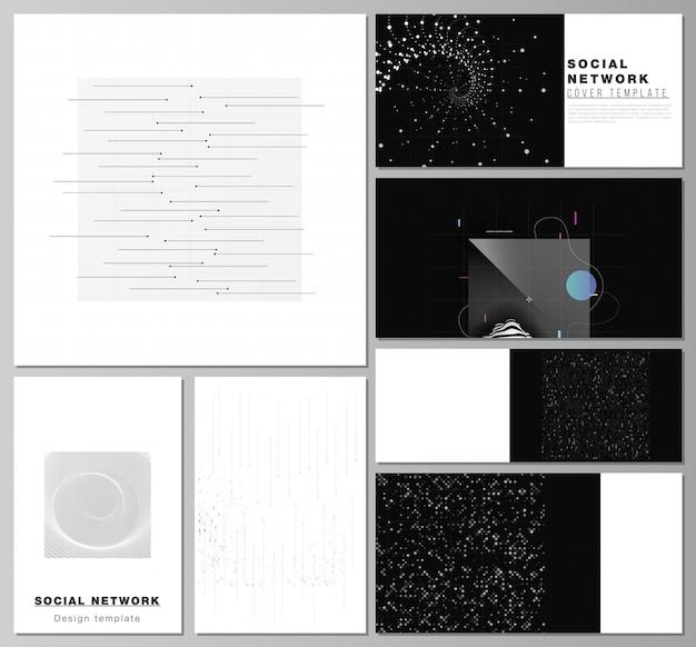 Mises en page vectorielles de maquettes de réseaux sociaux pour la conception de la couverture, la conception de sites web, les arrière-plans de sites web ou la publicité. fond de science de couleur noire de technologie abstraite. données numériques. concept de haute technologie.