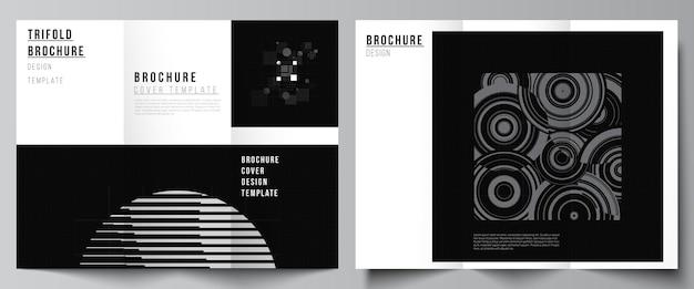 Mises en page vectorielles des modèles de couvertures pour brochure à trois volets mise en page du livre conception de la brochure couverture technologie abstraite couleur noire fond scientifique données numériques concept de haute technologie minimaliste
