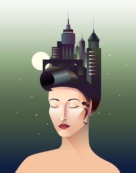 Miss geometry portrait abstrait de femme aux yeux fermés