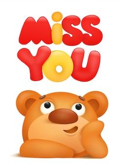 Miss you card avec personnage de dessin animé ours en peluche. illustration vectorielle