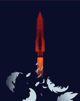 Missile nucléaire avec des plumes d'oiseaux