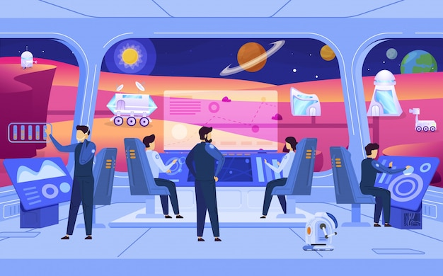 Mission de colonisation de la planète, personnes dans la station spatiale, personnages de dessins animés de science-fiction, illustration