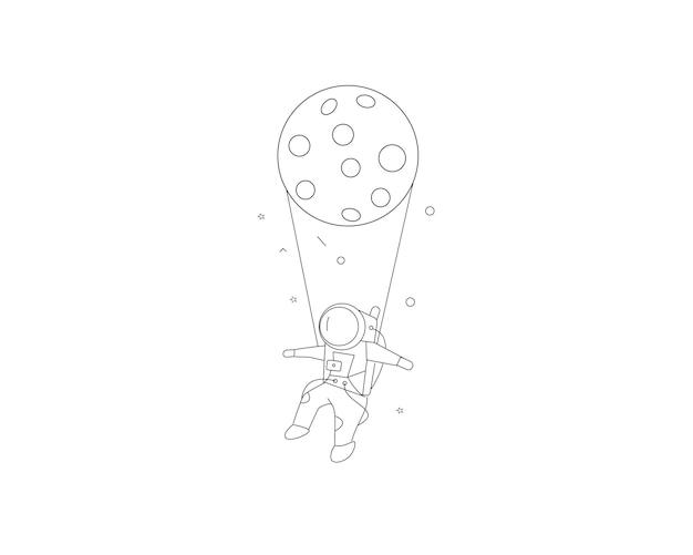Mission spatiale d'astronautes suspendus lune, illustration vectorielle de croquis dessinés à la main.