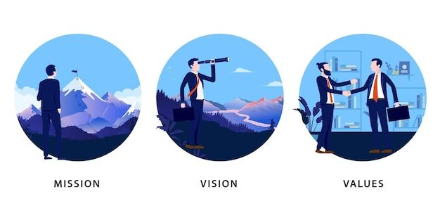 Mission de vision d'entreprise et ensemble de valeurs de trois illustrations vectorielles