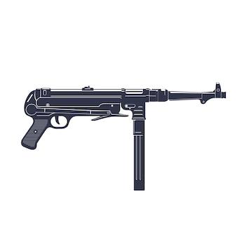 Mitraillette allemande mp 40 over white, infâme arme à feu de la seconde guerre mondiale