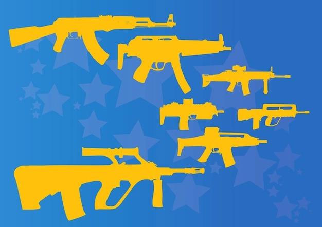Mitrailleuses et des fusils