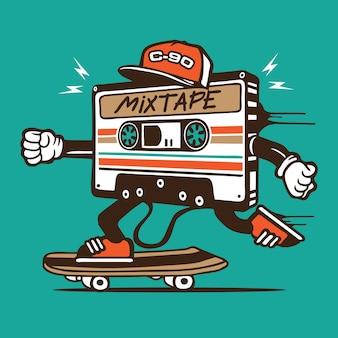 Mix tape cassette skater skateboard character