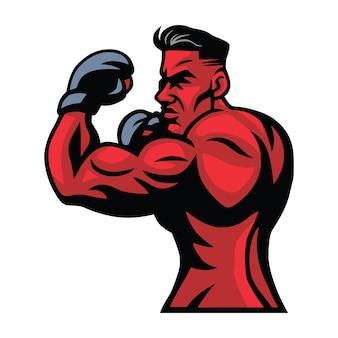 Mixed martial arts boxer fighter logo character design illustration vectorielle