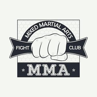 Mma. arts martiaux mixtes. logo du club de combat. imprimez pour des vêtements de conception, un tampon de t-shirt, une typographie de vêtements de sport. illustration vectorielle.