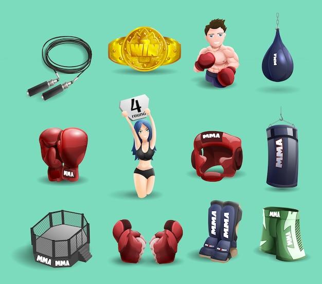 Mma combat ensemble d'icônes 3d