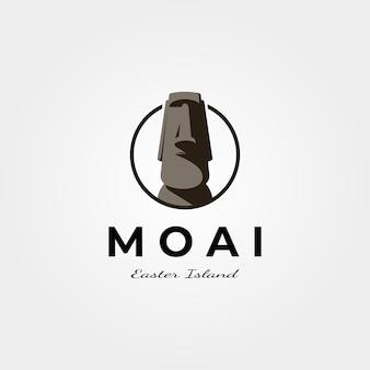 Moai easter island logo design illustration vintage symbole