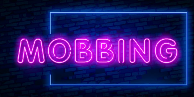 Mobbing mot néon texte
