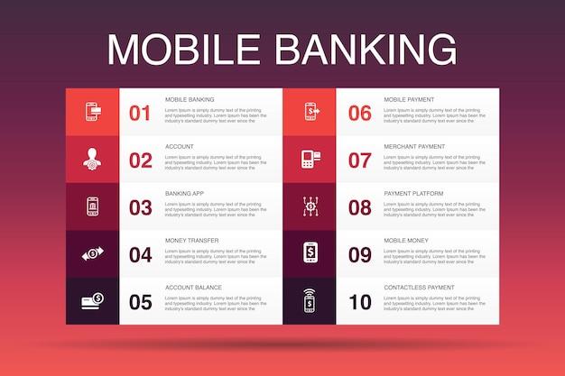 Mobile banking infographic 10 option template.account, application bancaire, transfert d'argent, icônes simples de paiement mobile