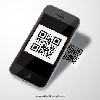 Mobile avec le code de qr
