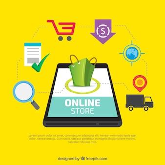 Mobile avec des éléments de la boutique en ligne