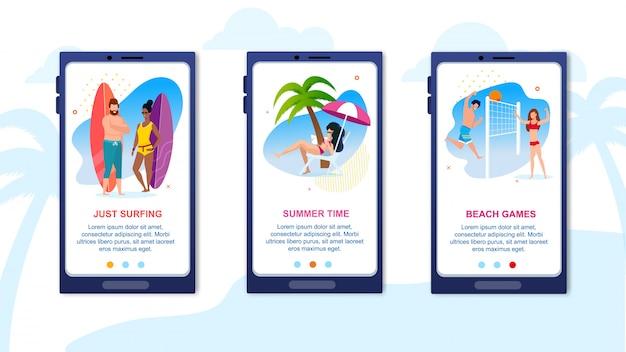 Mobile landing page annonçant des vacances d'été