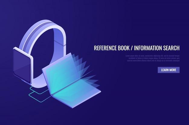 Mobile en ligne, bibliothèque. livre éléctronique. concept d'encyclopédie en ligne.